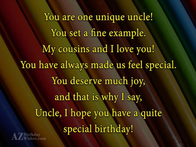 You Are On Unique Unncle You Set A Fine Example Uncle I Hope You Have A Quite Special Birthday