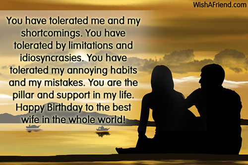 You Have Tolerated Me And My Shortcomings You Have Tolerated By Happy Birthday To The Best Wife InThe Whole World