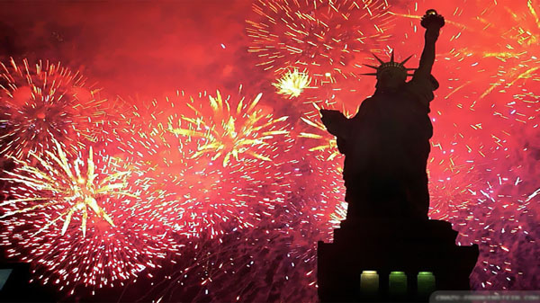 Firework Behind Statue Of Liberty Celebration Festival 4th Of July