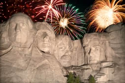 Fireworks Behind Rushmore Celebrating Festival 4th Of July