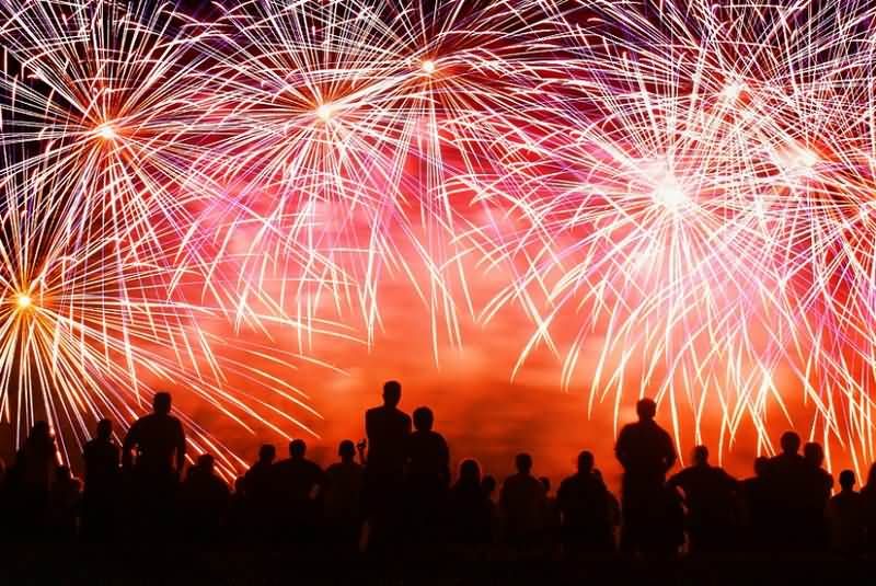 Fireworks On 4th July In The Sky