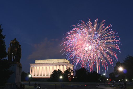 Bold fireworks, above the Lincoln Memorial in Washington, DC