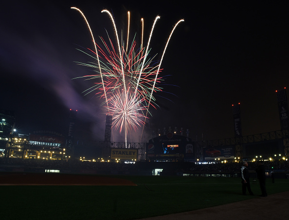 CHICAGO, IL - JULY 03: Fireworks to celebrate the fourth of July explode after the game between the Chicago White Sox and the Baltimore Orioles on July 3, 2015 at U. S. Cellular Field in Chicago, Illinois. The White Sox defeated the Orioles 1-0. (Photo by David Banks/Getty Images)