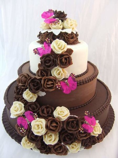 3 Story Flower Chocolate Birthday Cake