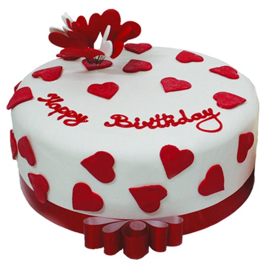 Beautiful Red Hearts Design Birthday Cake Image