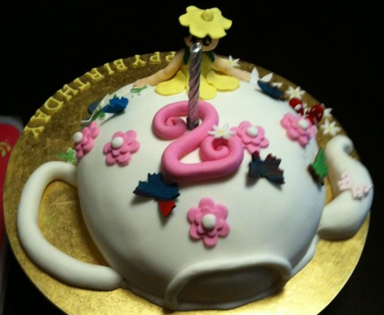Birthday Cake Tea Kettle 2nd Year Wishes