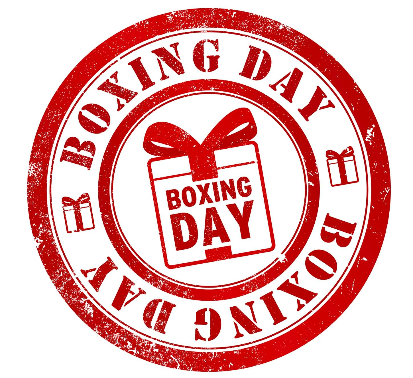 Boxing Day Red Rubber Stamp Image