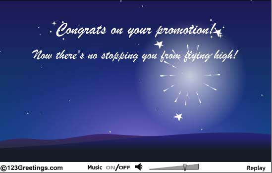 Congrats On Your Promotion Now There's No Stopping You From Flying High Greeting Image
