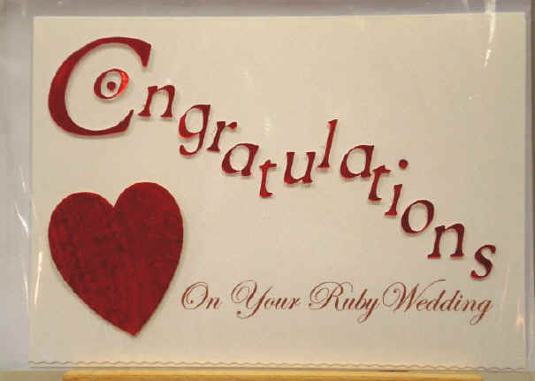 Congratulations On Your Ruby Wedding Greeting Card Picture