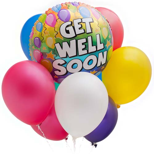 Get Well Soon Colorful Balloons Image