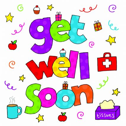 Get Well Soon Colorful Text Greeting Card