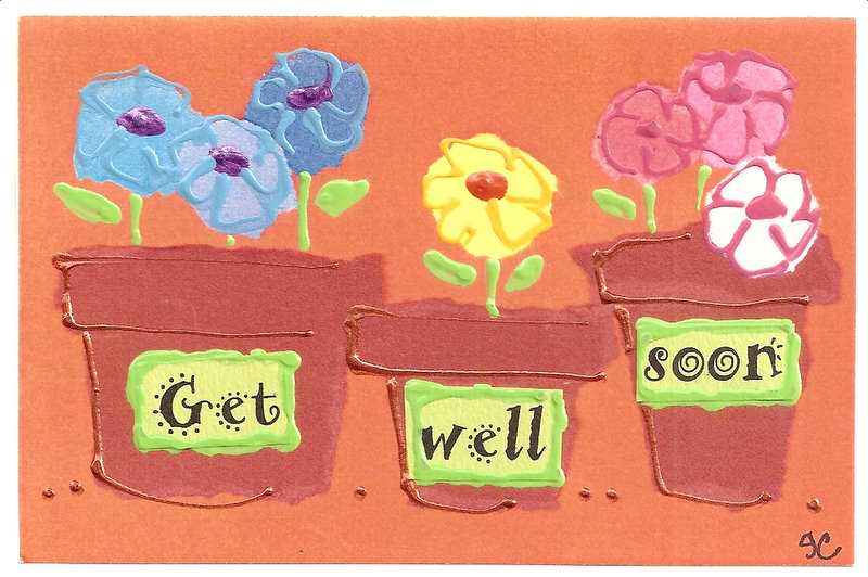 Get Well Soon Flower Pots Wishes E-Card