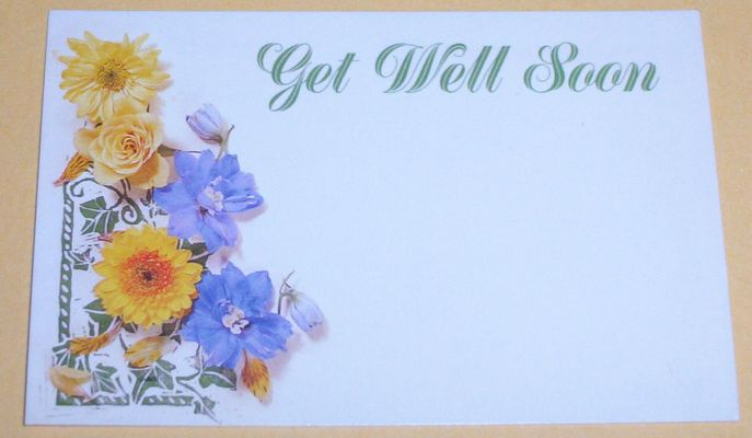 Get Well Soon Flowers Handmade Wishes Card Image