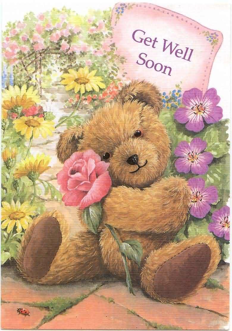 Get Well Soon Teddy Bear E-Card Wishes