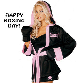 Girl Wishes You Happy Boxing Day Picture