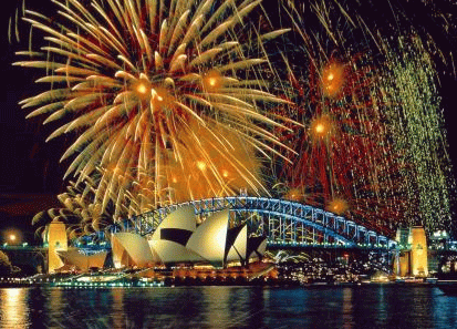 Happy Australia Day Celebrate Fireworks