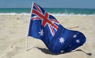 Happy Australia Day Flag On Beach