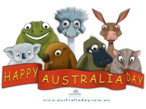 Happy Australia Day Greetings By Cartoon Animals