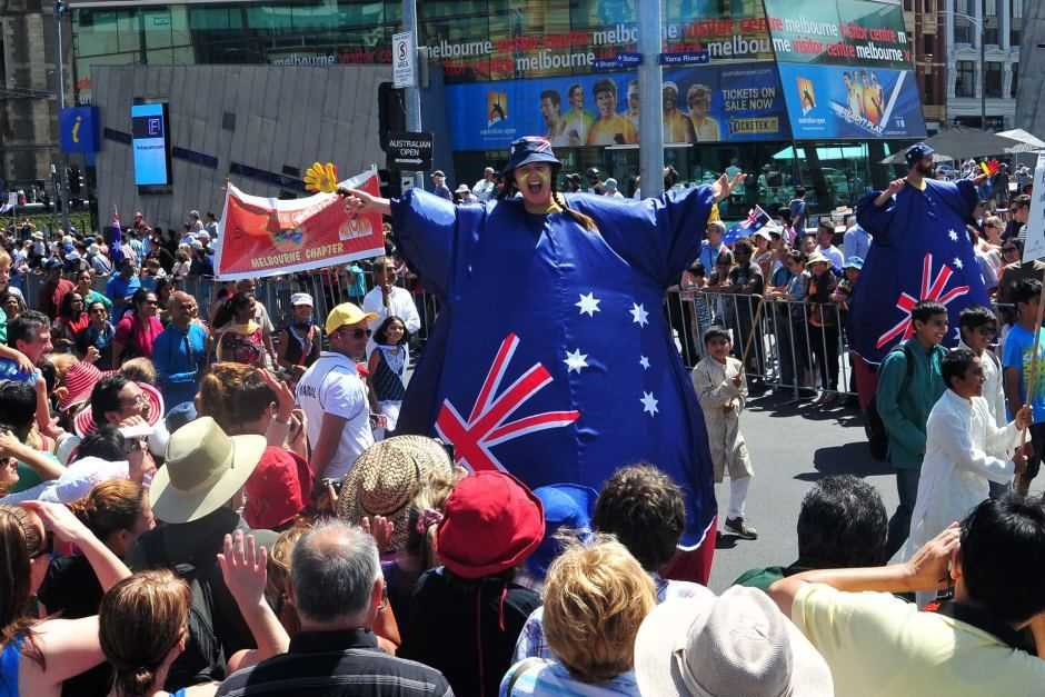 Happy Australia Flag On Australia Day Parade