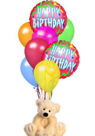 Happy Birthday Balloons With Teddy Card