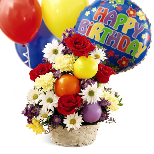 Happy Birthday Flower And Balloons Basket Picture