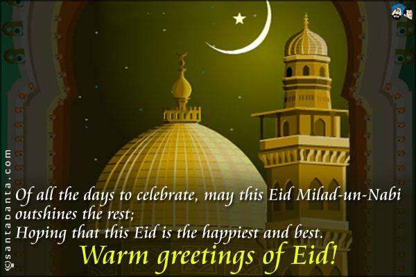 Hoping That This Eid Is The Happiest And Best Warm Greetings Of Eid Greeting Picture
