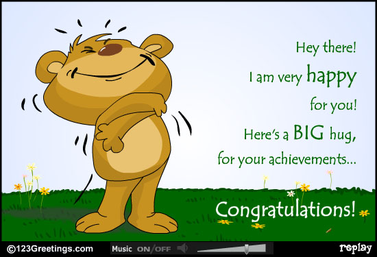 I Am Very Happy For You Here's A Big Hug For Your Achievements Congratulations Greeting