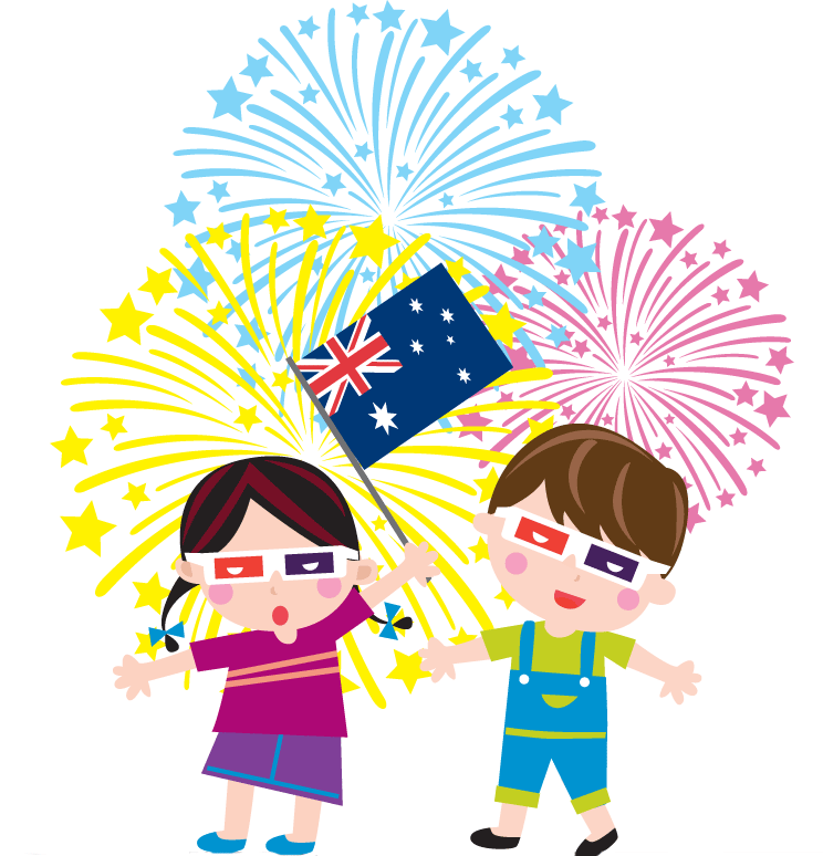 Kids Celebrating Australia Day Greetings Card