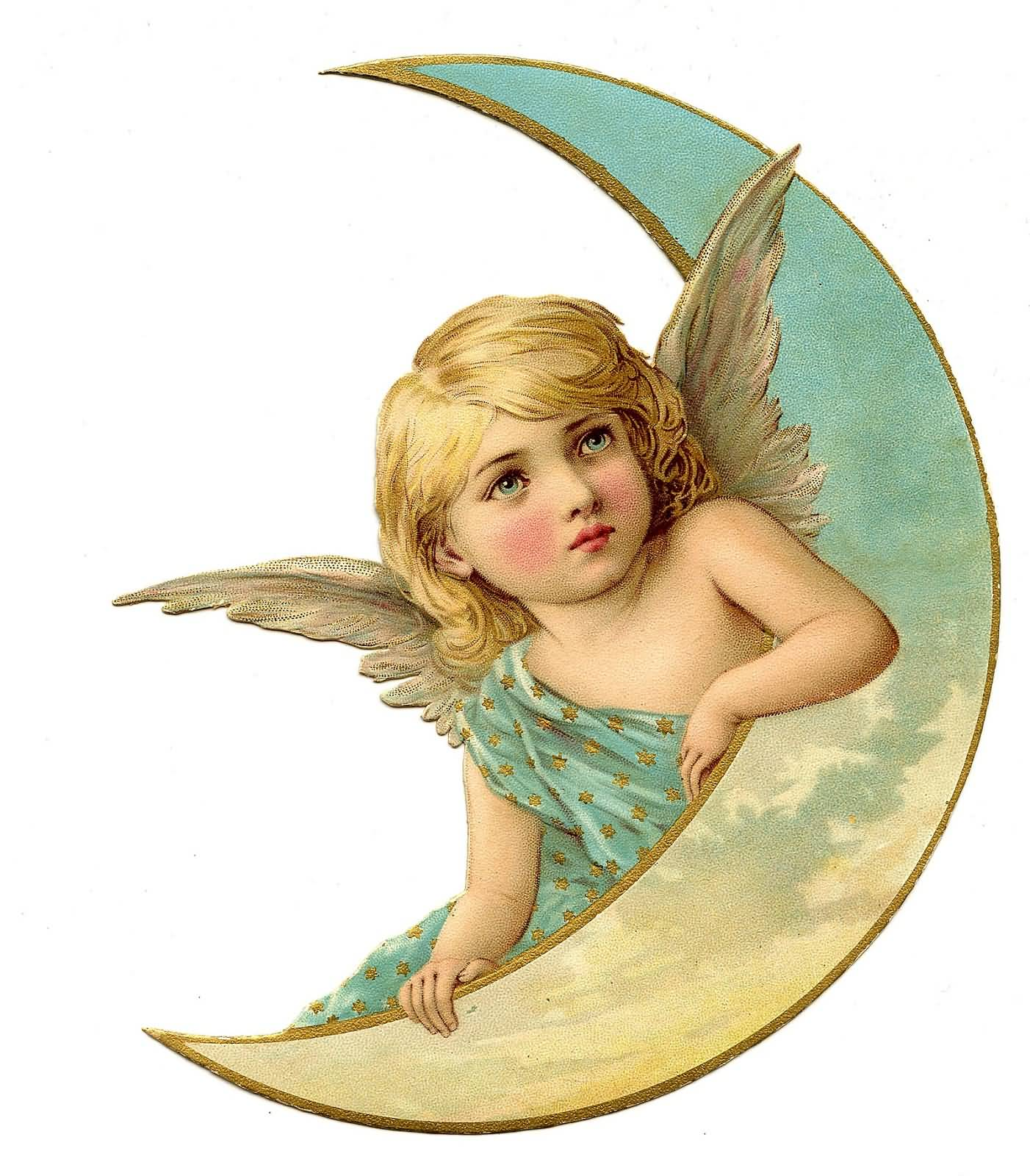 Sweet Angel With Half Moon Image
