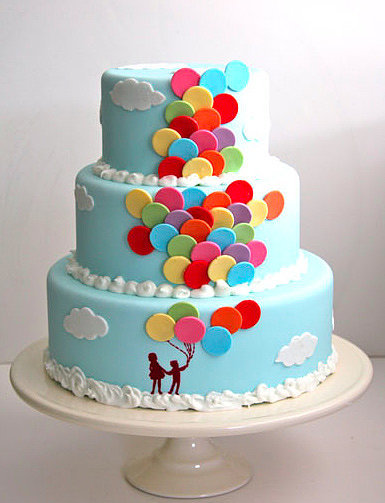 Wonderful Balloons Happy Birthday Cake Design
