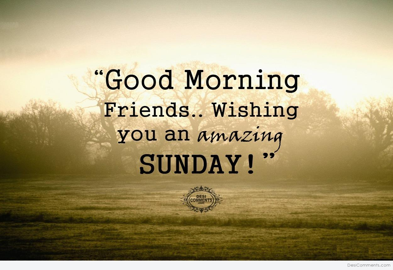 Good Morning Friends Wishing You An Amazing Sunday Greetings Image