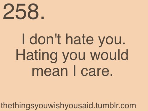 I Don't Hate You Hating You Would Mean I Care Quotes Image