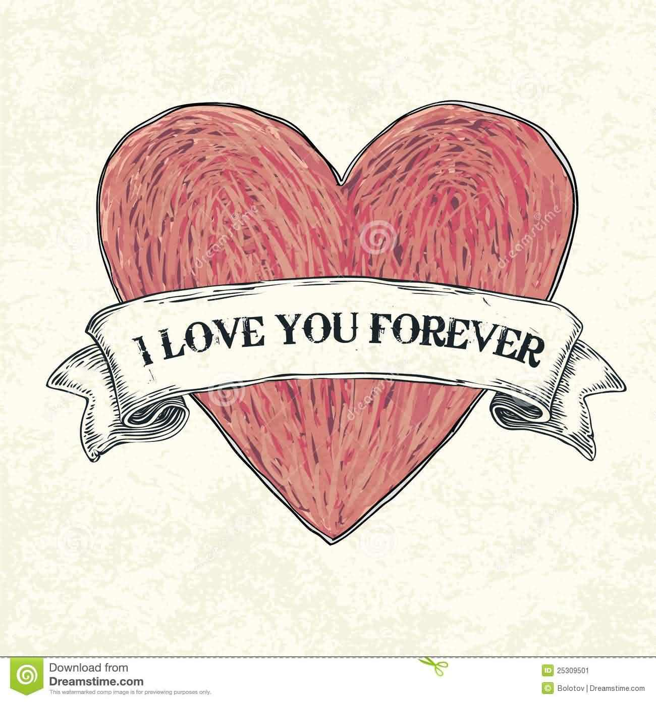I Love You Forever Drawing Greeting Image