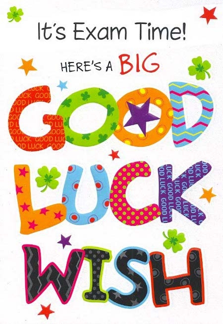Its Exam Time Here's A Big Good Luck Wish Handmade Colorful Card