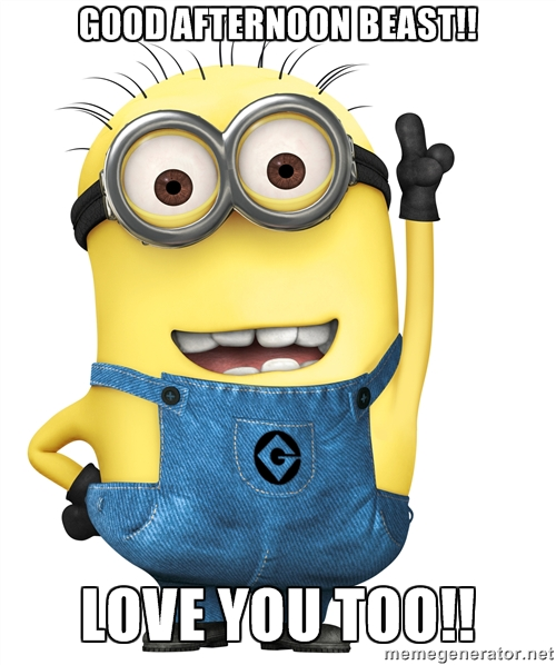 Minion Wishes A Very Good Afternoon Beast Love You Too