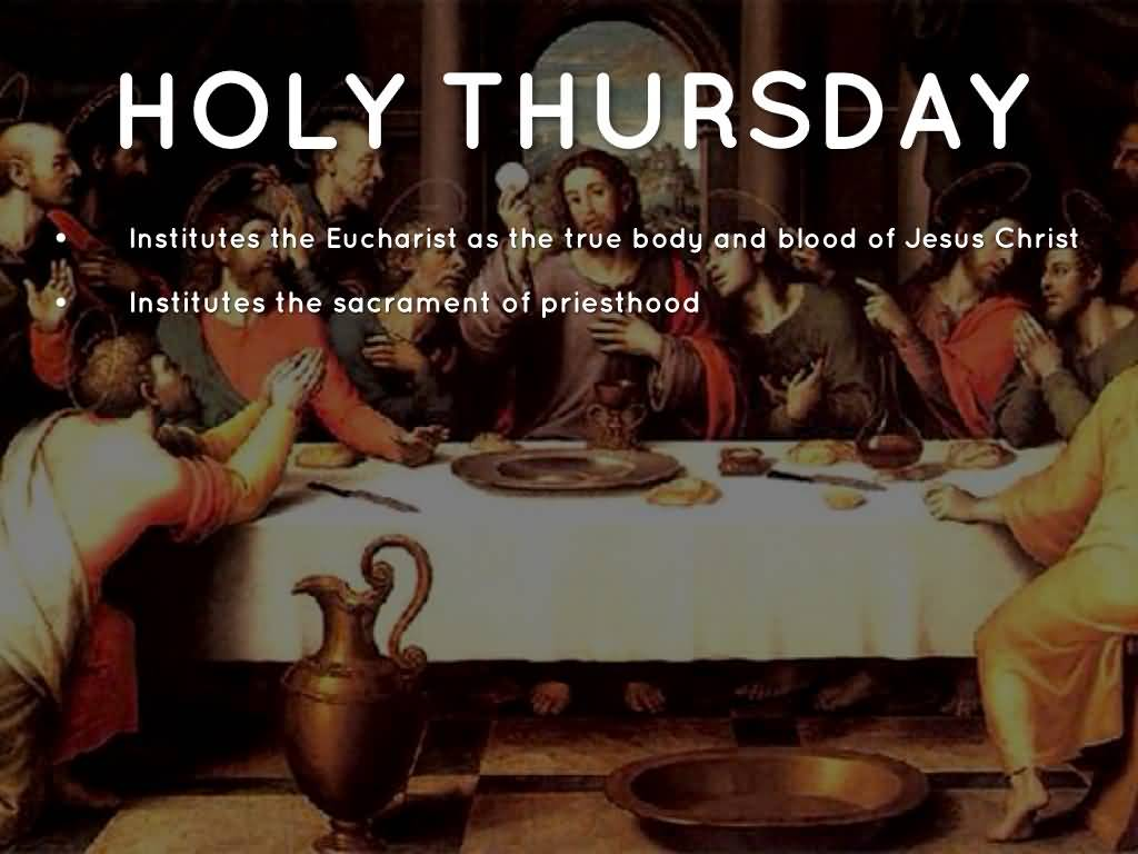 the holy thursday At the end of the liturgy on holy thursday evening, in every catholic church around the world, the blessed sacrament is removed to the altar of repose, the altar is stripped, the church is bare, empty.