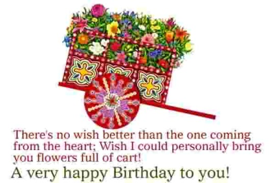 Beautiful Birthday Wishes With Flower Cart