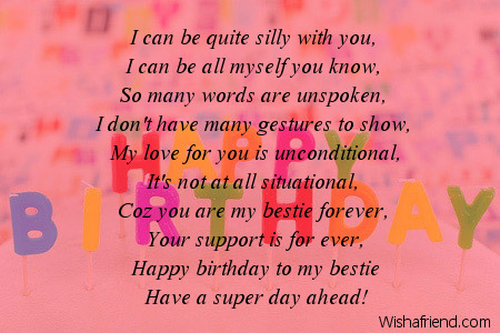 Bestie Forever Birthday Poem