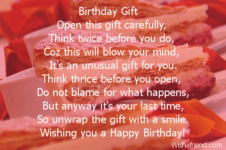 Carefully Birthday Poem