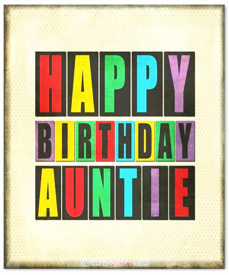 Colorful Wishes For Aunt Birthday