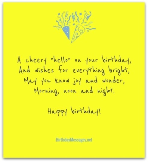 Hello And Wishes Birthday Poem