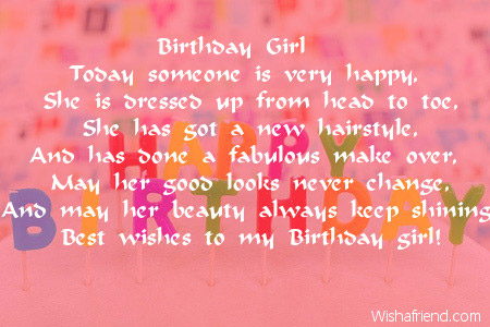 Loving Girl Birthday Poem