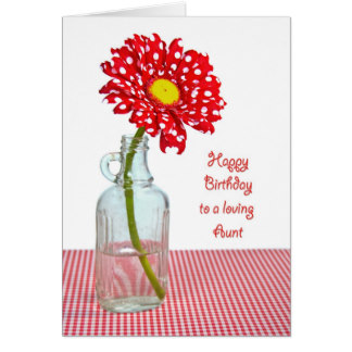 Red Flower Aunt Birthday Wishes Card