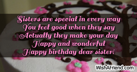 Special Sister Birthday Sayings