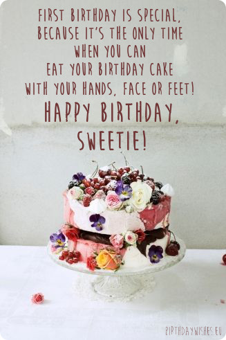 Sweetie Birthday Quotes With Cake