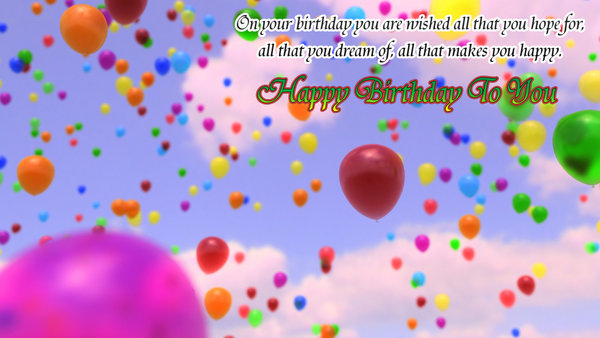 Colored Ballons Happy Birthday Wishes Card