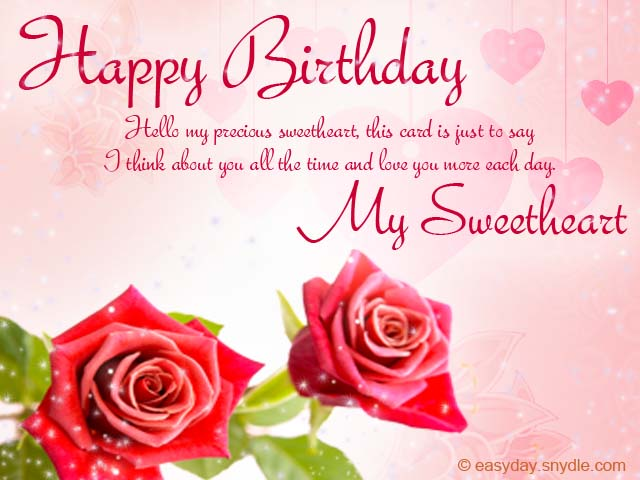 Nice Roses Romantic Happy Birthday Wishes To My Sweetheart