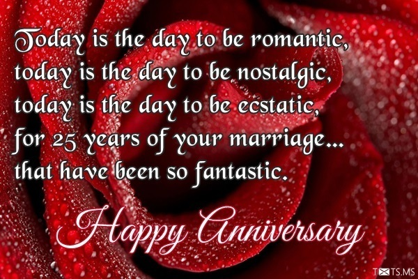 25th Wedding Greeting Card Wishes