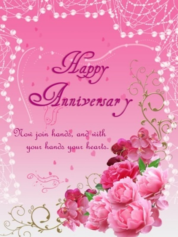 Anniversary Greeting Card With Flowers