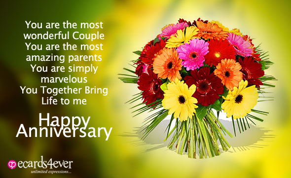 Anniversary Quotes With Bouquet Of Flowers
